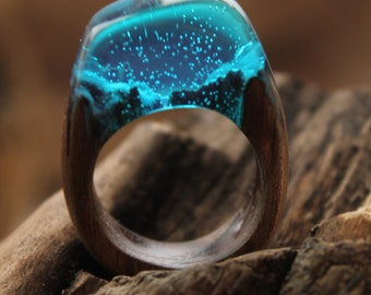 Ultramarine jewelry wood Sky blue ring blue wooden resin ring carved Gift her Turquoise ring snow Blue mountains Ocean ring lover Christmas