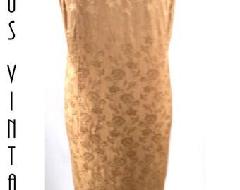"""Plus Size UK 20 Vintage 1980s Gold Jacquard Brocade Maxi Column Dress Deco EU 48 US 16 Bust 46"""" 117cm"""