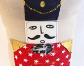 Soft toy Nutcracker doll for boy Fabric stuffed toy soldier under 50 Nut cracker decor Nutcracker pillow Christmas  Pillow Christmas Cushion