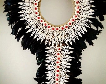 Feather Bib Shell Necklace
