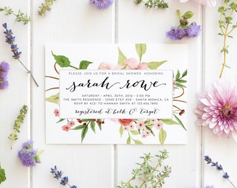 Garden Party, Floral Bridal Shower Invitation, High Tea Party, Watercolor Flower  [287b]