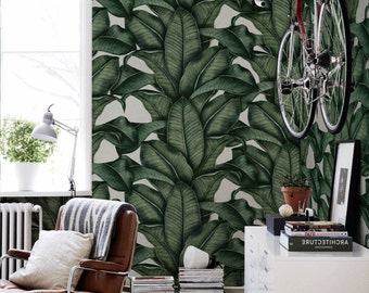 Banana leaf wallpaper,  Banana leaves,  Drawing tropical wall mural,  Removable wallpaper, Wall murals, Tropical design   #40