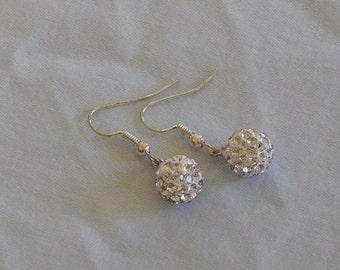 White Disco Ball Earrings