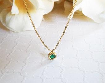 Small dainty green onyx milgrain bezel pendant necklace May birthstone necklace green gemstone charm necklace