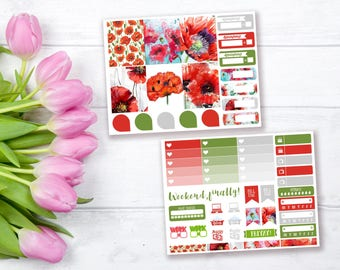 Poppies mini weekly stickers kit | Erin Condren vertical stickers | Weekly planner stickers | Mini weekly planner kit