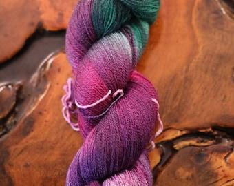 "Hand dyed ""Amethyst"", Super-Wash Merino, Silk, Lace, Knitting, Crochet, Lace Yarn"