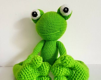 Frog, Large Crochet Frog Toy, Soft Green Frog Toy, Large Toy Frog, Handmade Crochet Frog, Amigurumi Frog, Kermit the Frog - MADE TO ORDER