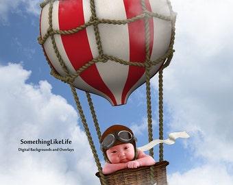Newborn Digital Background ~ Balloon ~ Clouds ~ Flights of Fancy