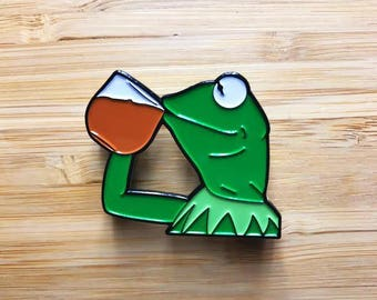 "Kermit Enamel Pin, Cute Jewelry, Kermit 1.5"" Lapel Pin, Sesame Street, Kermit Button, Cute Soft Enamel Pin, Internet Meme, Pop Culture Pins"