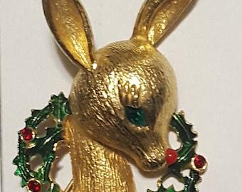Vintage MYLU Signed Deer Wreath Pin