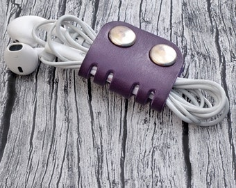 Purple Leather Cord Organizer // Headphone Case - Earbud Holder - Cable Holder - Leather Cord Keeper - Leather Earphone Holder