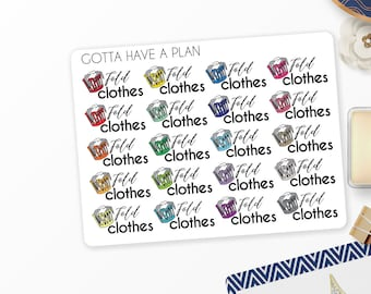 Planner Stickers Fold Clothes, Laundry Basket for Erin Condren, Happy Planner, Filofax, Scrapbooking