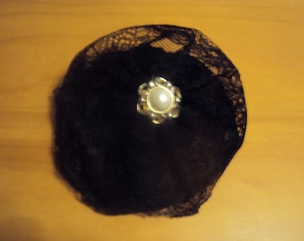 Round Black Lace Hair Bow 093