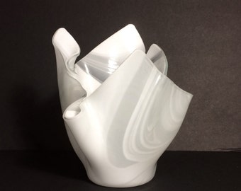 White swirl handkerchief vase or bowl