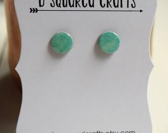 Light Blue-Green Watercolor Paper Stud Earrings