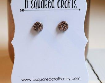 Rose Gold Faux Druzy Stud Earrings