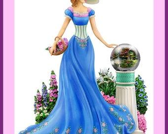 BUY 2 GET 1 FREE! Beautiful Lady in Blu  258 Cross Stitch Pattern Counted Cross Stitch Chart, Pdf Format/137192