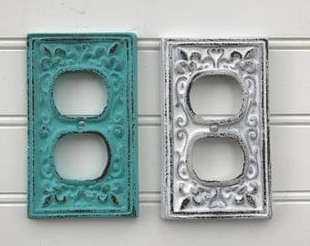 Clearance SALE Double Plug Cover/Pick your color/Outlet Cover/Shabby Chic/Outlet Cover/Plug Plate/Decorative Cover/Ornate Plug Cover/nursery