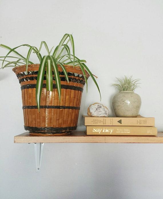 Wicker Planter Boho Planter Jungalow Woven Basket Woven