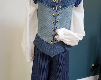 Renaissance Gentleman's Outfit (XSm) - Doublet w Breeches - Shades of Blue