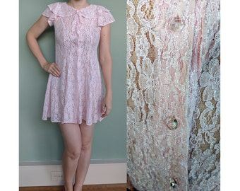 Vintage Pink Lace Baby Doll Lingerie, Sheer Vintage Button Up Lace Lingerie, Mad Men Pin-Up Baby Doll Nightie, Extra Small XS