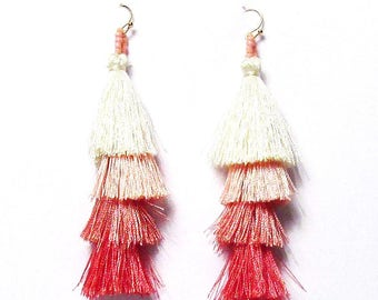 Shimmering 4 Tier Multi Color Pink Fringe Drop Statement Earrings