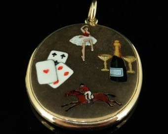 The Four Vices Enamel Gold Collectable Locket Cards/Gambling/Women/Sport