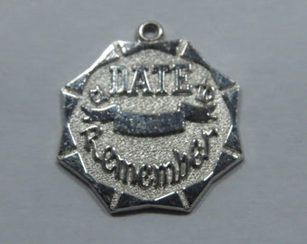 Date To Remember Octagonal Shaped Sterling Silver Charm for Bracelet or Pendant