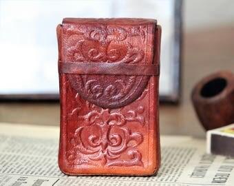 Leather Cigarette Case - Business Card Holder - Vintage Card Case - Brown Cigarette Case - Embossed Leather Case - Gift For Him