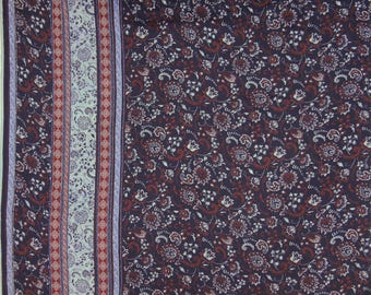 """Indian Fabric, Floral Print, Navy Blue Fabric, Upholstery Fabric, Sewing Decor, 56"""" Inch Rayon Fabric By The Yard ZBR329A"""
