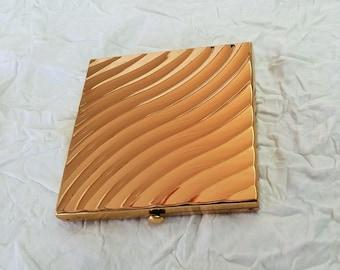 Vintage Powder Compact, Square Gold-Tone Metal, Art Nouveau Waves, Wadsworth USA