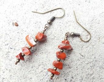 Red Jasper earrings, Gemstone dangle Earrings, Gemstone Chip Earrings, Red Gemstone Chip Drop Earrings, Boho-Chic Red Jasper Chip Earrings