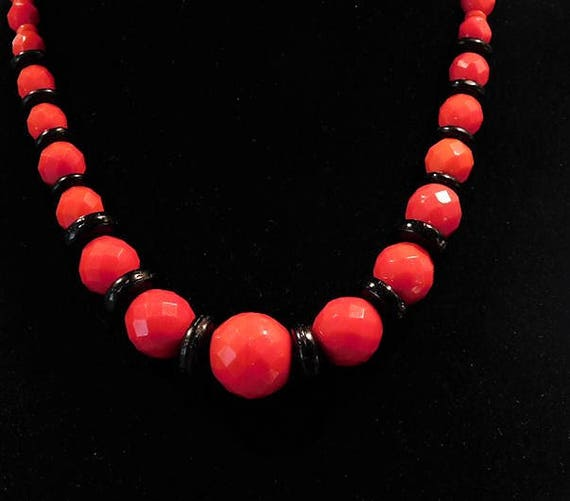 Vintage Signed Czech Art Deco 1930s Necklace Cherry Red Jet Black Glass Bead Beaded CZECHOSLOVAKIA Bohemian Flapper Era Fashion Jewelry