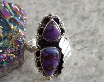 Copper Purple Turquoise Ring Size 7 1/2
