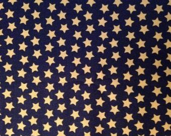 Tan Stars on Twilight Black Background, Maude Asbury, Spooktacular Eve, 100% Cotton