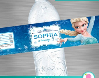 FROZEN Water Bottle Label, Frozen Party Package,  Frozen Printable Label, Frozen DIY Party Kit, Frozen Bottle Label