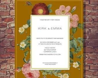 Vintage Botanicals Wedding Invitation- Printable