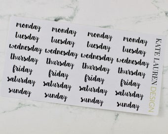 Day of the Week Script Stickers, Bullet Journal Stickers, Bullet Journal Planner Stickers, BUJO Planner Stickers, Day Script