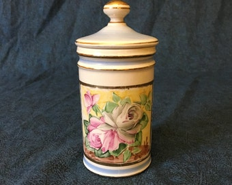 Vintage Hand Painted Powder Blue and Cream Floral Apothecary Jar