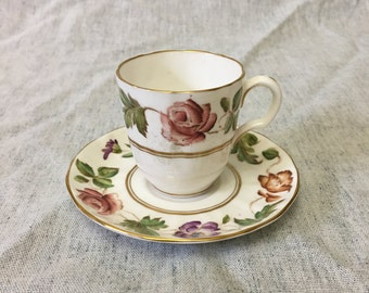 Vintage Royal Worcester Virginia Demitasse Tea Cup and Saucer, Collectible Floral Tea Cup