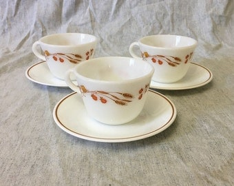 Vintage Pyrex Harvest Home Cups and Saucers, Set of 3, Corelle