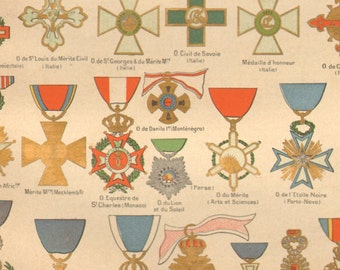1890's Antique French Medals Print Decorations Badges Larousse Original Lithograph Book Plate