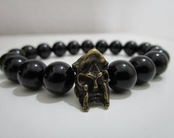 Onyx Bracelet Onyx, Gladiator bracelet, bracelet for man, gift for man, bracelet style Greek, helmet gladiator, old bronze