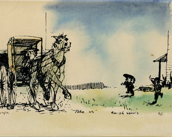 """Amish Life Serigraph art, Robert Hild, Limited Edition, numbered 4/10 hand watercolored, """"Take Us"""" Amish Series,  Vintage Art Lithograph"""