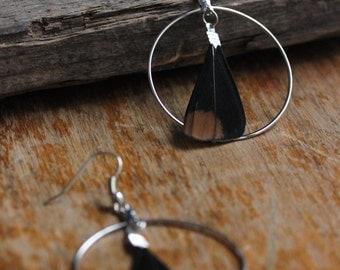 Spruce Grouse Feathers Earrings - Partridge Feathers - Boho Feather Earrings - Small Short Feathers - Black Feather Jewel - Bohemian Jewelry