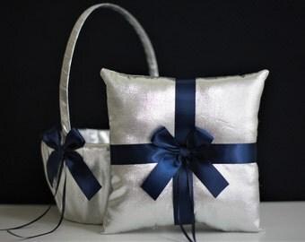Navy Ring Bearer pillow \ Navy Flower Girl Basket \ Silver Wedding Pillow Navy Wedding Basket Navy Blue Pillow Basket Set Navy Silver Bearer