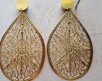 Gold Lace Teardrop Dangle Plug Gauges 0g, 00g, 7/16  1/2, 9/16, 5/8, 3/4
