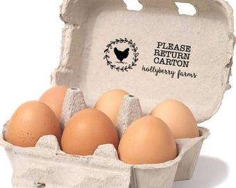 Egg Carton Return Label - Please Return Carton Stamp - Custom Egg Carton Stamp - Farm Egg Carton Label - Custom Chicken Coop - Carton Return