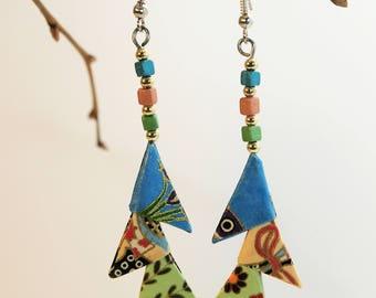 "Origami ""Triangles green Beige blue"" earrings"