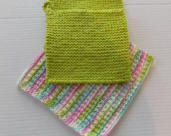 Hand Knitted Pot Holder and Dish Cloth Set, Spring Green Pot Holder and Dish Cloth Set